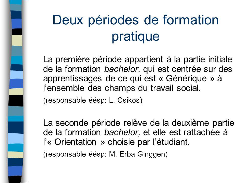 Deux périodes de formation pratique La première période appartient à la partie initiale de la formation bachelor, qui est centrée sur des apprentissag