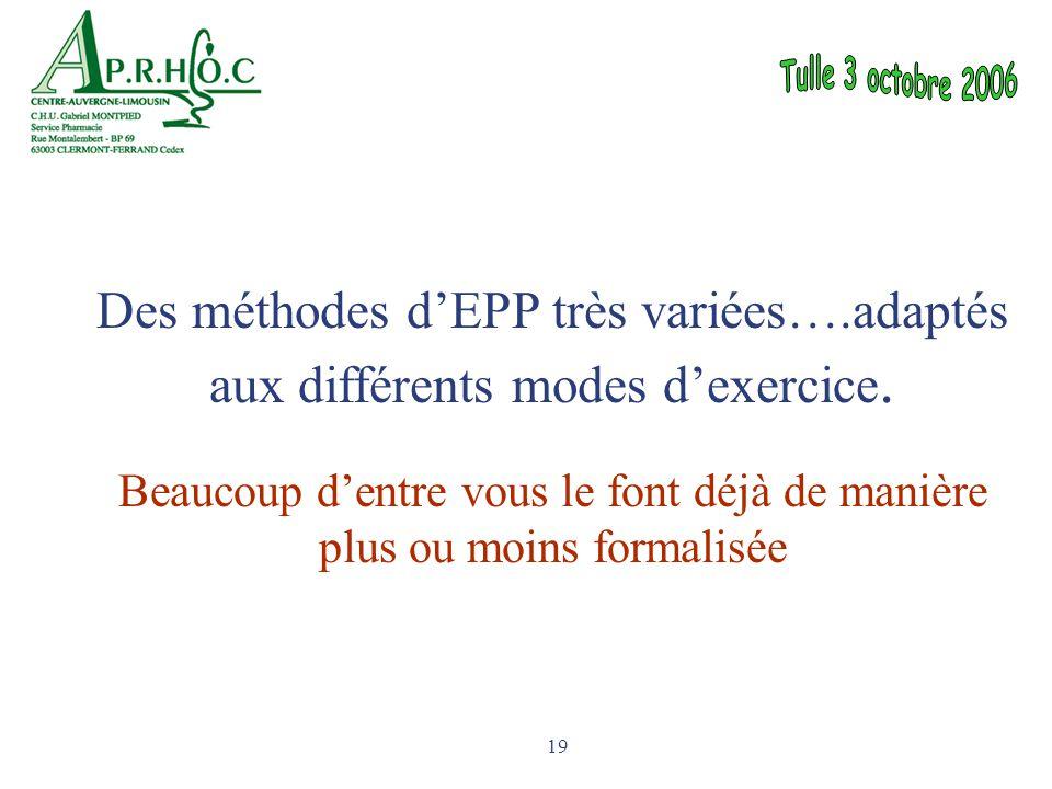 19 Des méthodes d'EPP très variées….adaptés aux différents modes d'exercice. Beaucoup d'entre vous le font déjà de manière plus ou moins formalisée