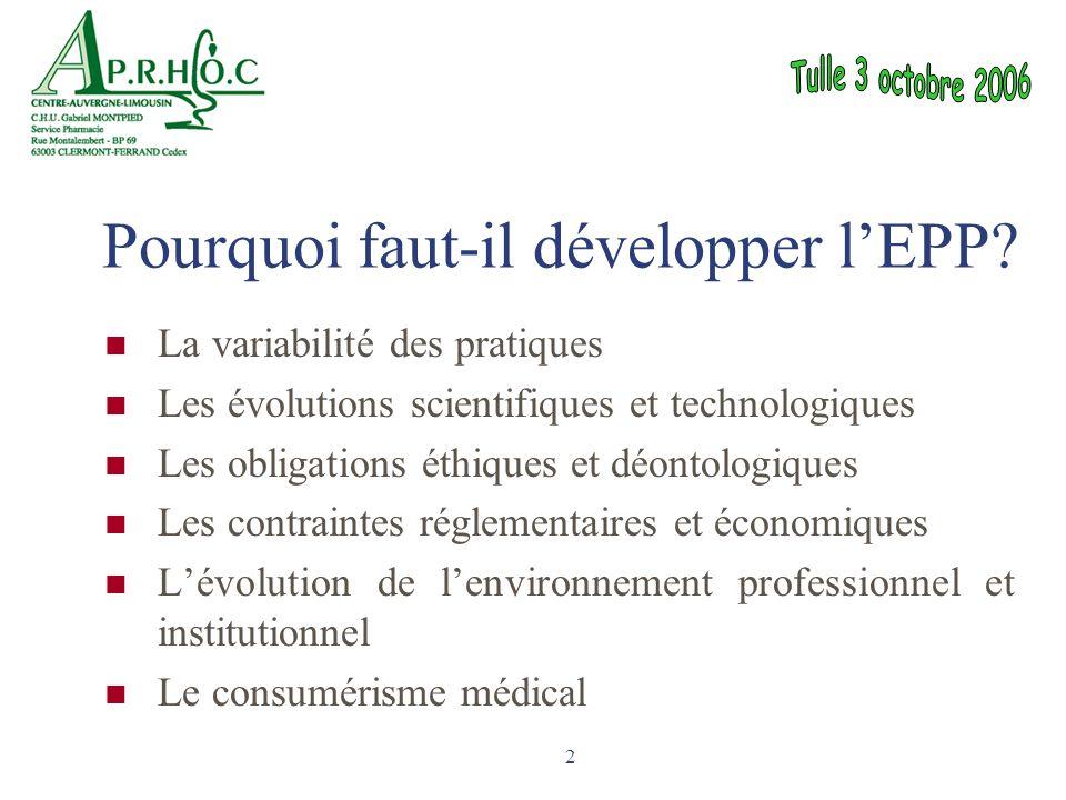 2 Pourquoi faut-il développer l'EPP? La variabilité des pratiques Les évolutions scientifiques et technologiques Les obligations éthiques et déontolog
