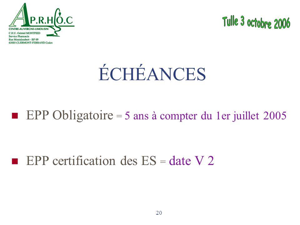 20 EPP Obligatoire = 5 ans à compter du 1er juillet 2005 EPP certification des ES = date V 2 ÉCHÉANCES