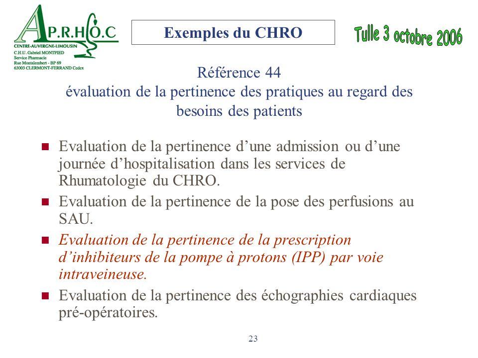 23 Référence 44 évaluation de la pertinence des pratiques au regard des besoins des patients Evaluation de la pertinence d'une admission ou d'une jour