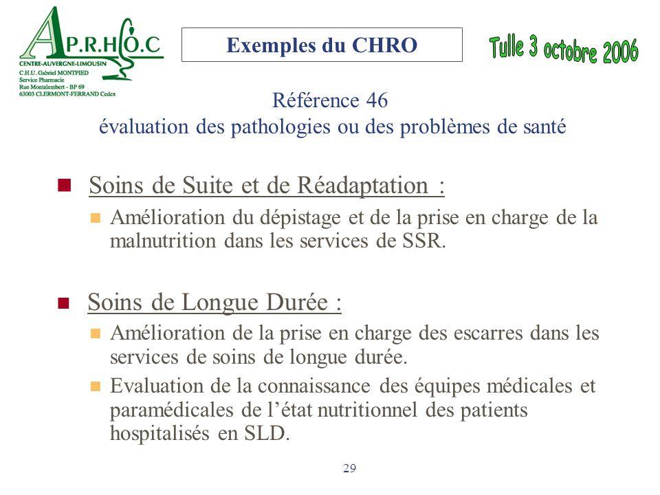 29 Référence 46 évaluation des pathologies ou des problèmes de santé Soins de Suite et de Réadaptation : Amélioration du dépistage et de la prise en c