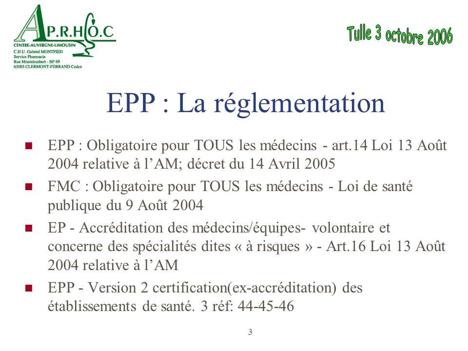 3 EPP : Obligatoire pour TOUS les médecins - art.14 Loi 13 Août 2004 relative à l'AM; décret du 14 Avril 2005 FMC : Obligatoire pour TOUS les médecins