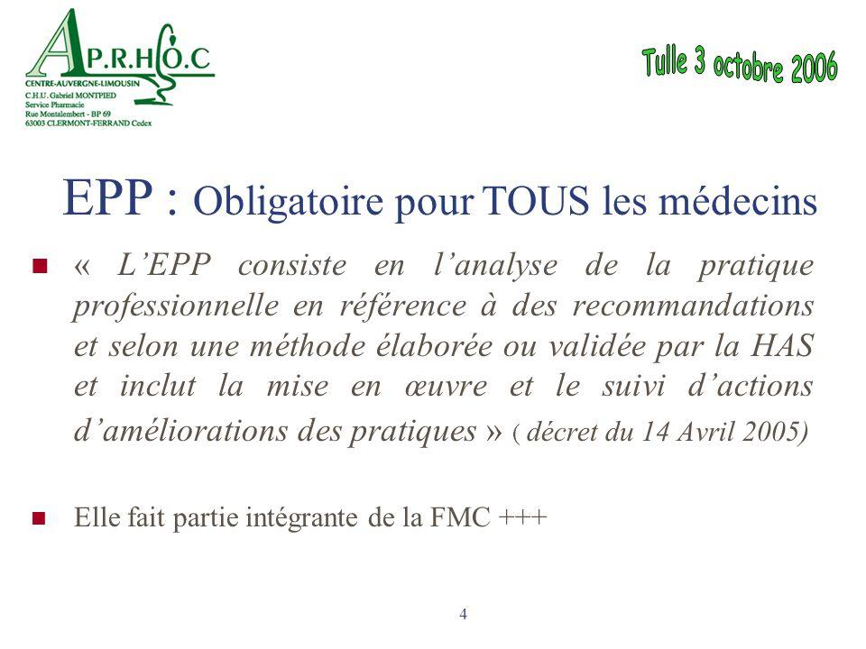 4 « L'EPP consiste en l'analyse de la pratique professionnelle en référence à des recommandations et selon une méthode élaborée ou validée par la HAS