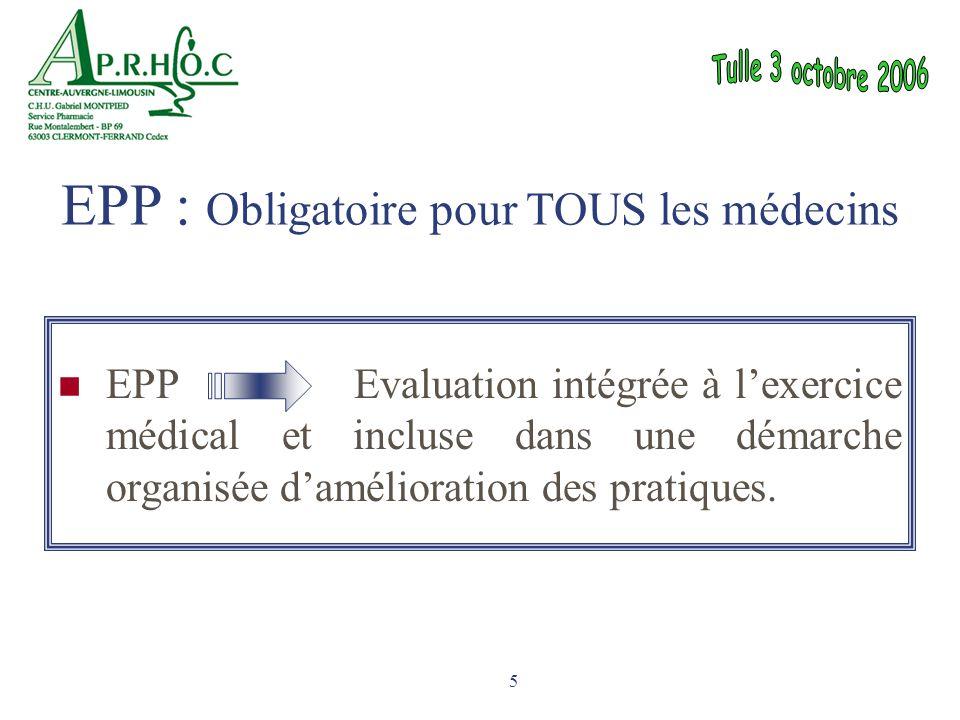 5 EPP Evaluation intégrée à l'exercice médical et incluse dans une démarche organisée d'amélioration des pratiques. EPP : Obligatoire pour TOUS les mé