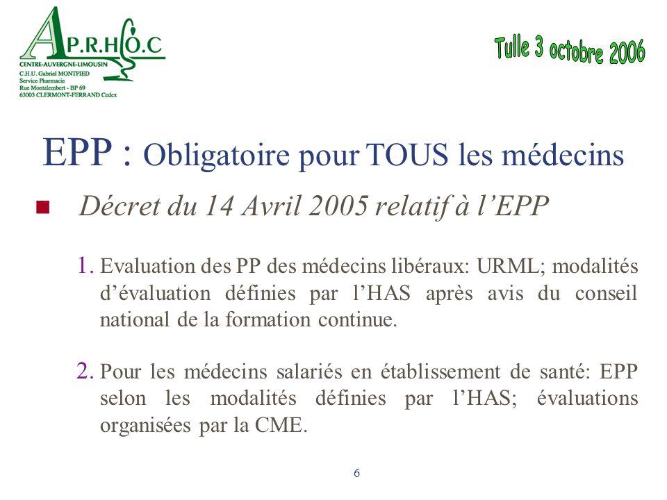 6 Décret du 14 Avril 2005 relatif à l'EPP 1. Evaluation des PP des médecins libéraux: URML; modalités d'évaluation définies par l'HAS après avis du co