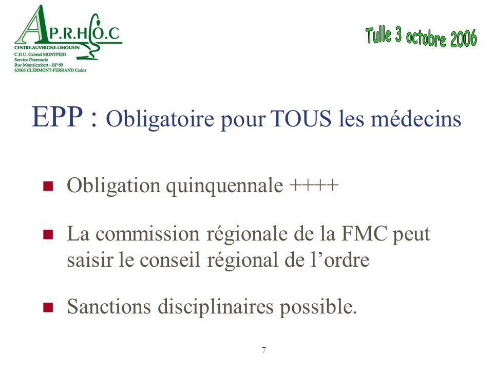 7 Obligation quinquennale ++++ La commission régionale de la FMC peut saisir le conseil régional de l'ordre Sanctions disciplinaires possible. EPP : O