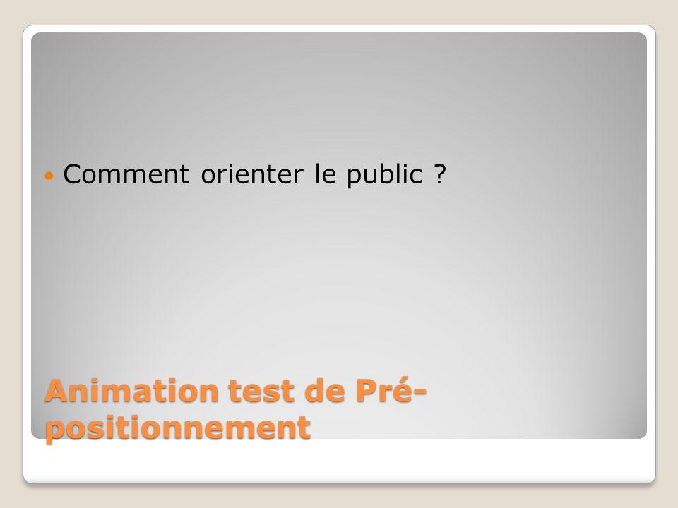 Animation test de Pré- positionnement Comment orienter le public ?