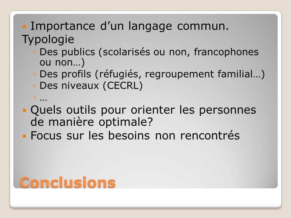 Conclusions Importance d'un langage commun. Typologie ◦Des publics (scolarisés ou non, francophones ou non…) ◦Des profils (réfugiés, regroupement fami