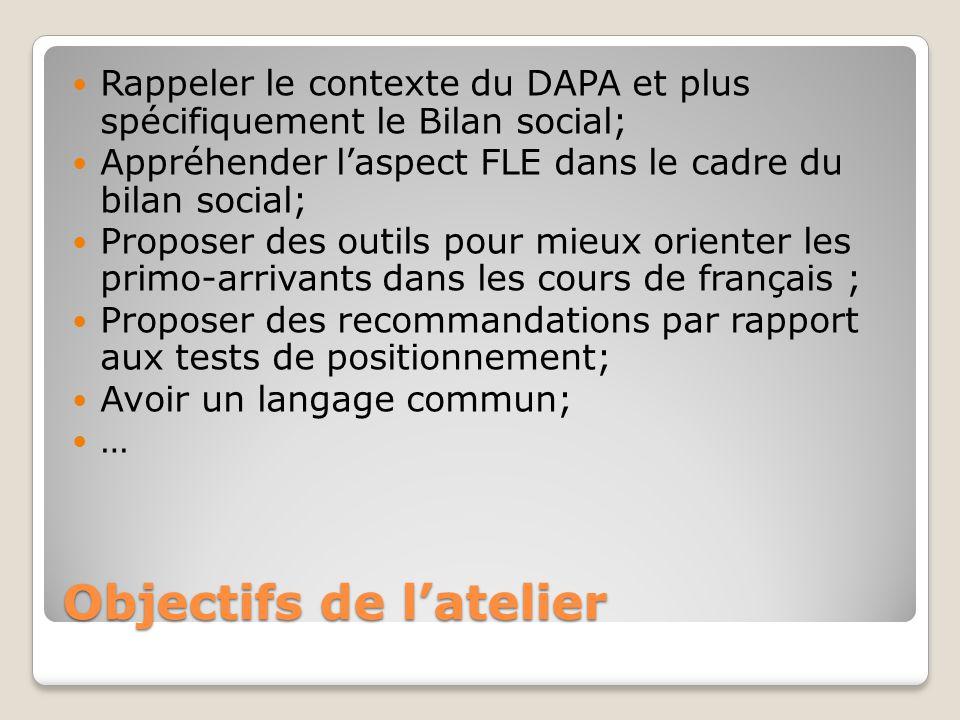 Objectifs de l'atelier Rappeler le contexte du DAPA et plus spécifiquement le Bilan social; Appréhender l'aspect FLE dans le cadre du bilan social; Pr