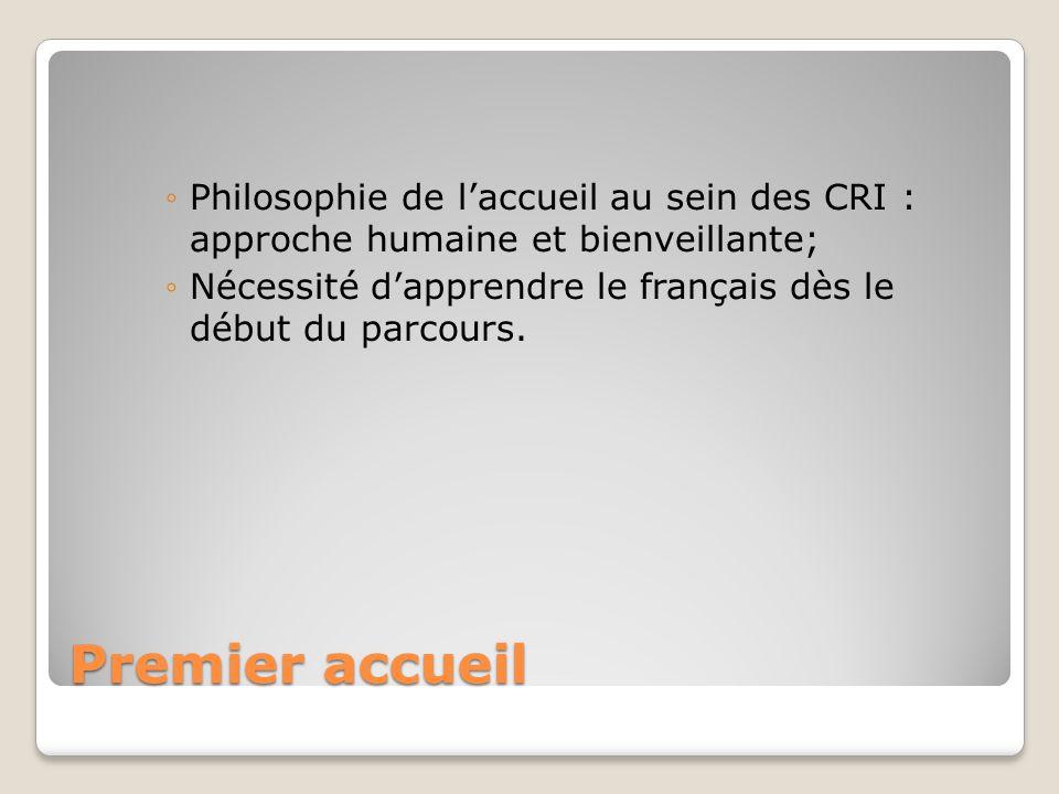Premier accueil ◦Philosophie de l'accueil au sein des CRI : approche humaine et bienveillante; ◦Nécessité d'apprendre le français dès le début du parc