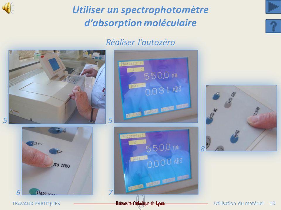 Utilisation du matériel 9 TRAVAUX PRATIQUES Utiliser un spectrophotomètre d'absorption moléculaire Réaliser l'autozéro 1 23