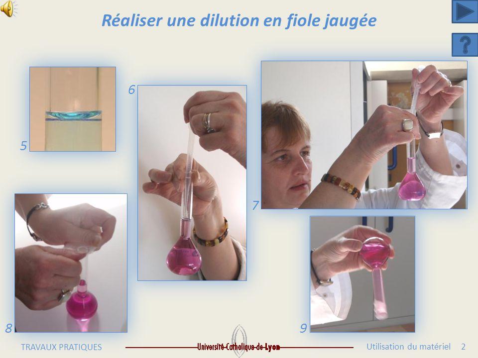 Utilisation du matériel 1 TRAVAUX PRATIQUES Réaliser une dilution en fiole jaugée 1 2 3 4