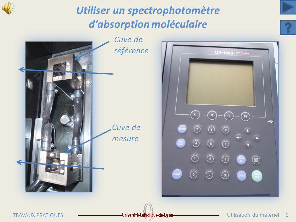 Utilisation du matériel 5 TRAVAUX PRATIQUES Utiliser un spectrophotomètre d'absorption moléculaire Passage du faisceau 1 cm Microcuve HITACHI