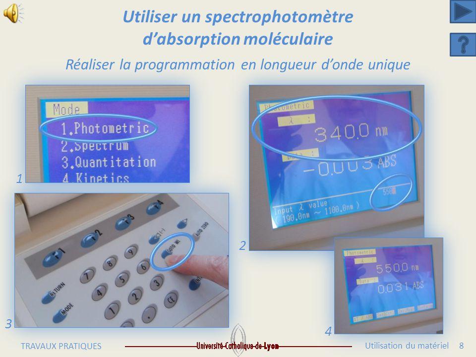 Utilisation du matériel 7 TRAVAUX PRATIQUES Utiliser un spectrophotomètre d'absorption moléculaire Réaliser la programmation