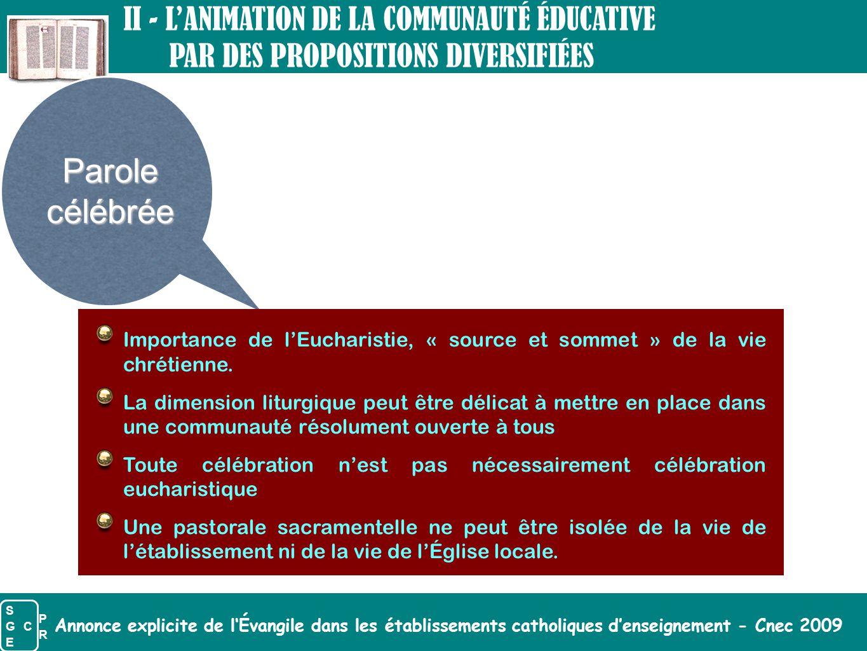 Annonce explicite de l'Évangile dans les établissements catholiques d'enseignement - Cnec 2009 Parolecélébrée Importance de l'Eucharistie, « source et