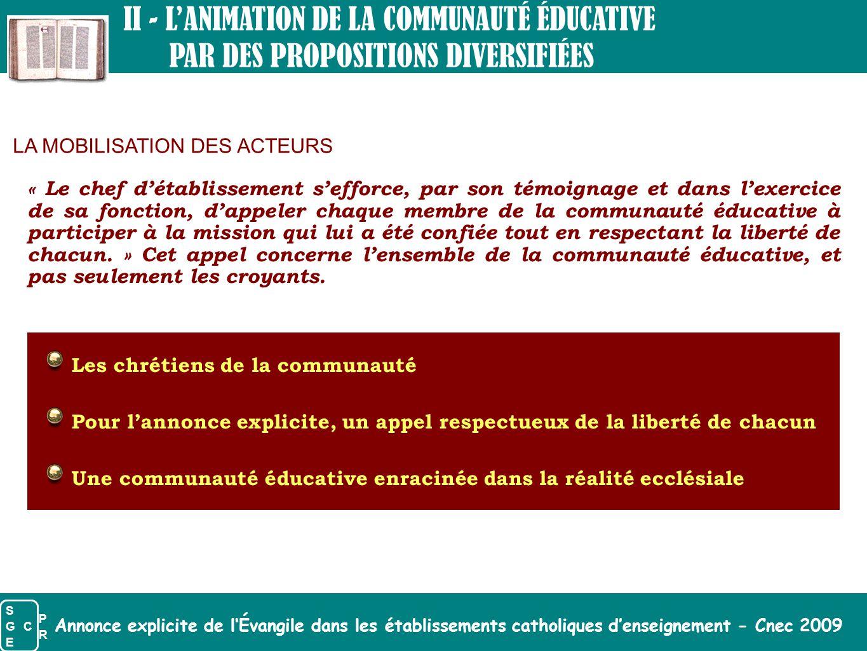 Annonce explicite de l'Évangile dans les établissements catholiques d'enseignement - Cnec 2009 II - L'ANIMATION DE LA COMMUNAUTÉ ÉDUCATIVE PAR DES PRO
