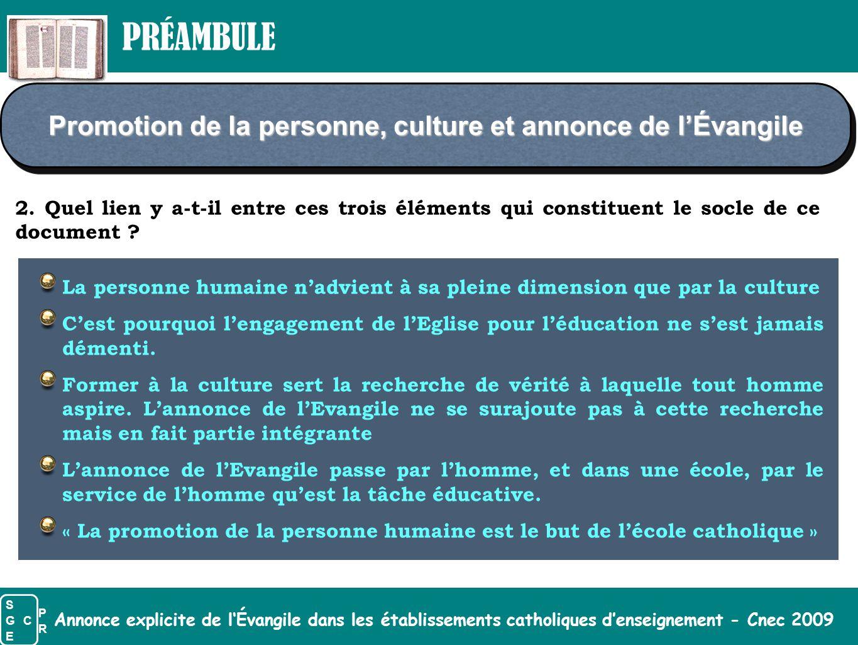 Annonce explicite de l'Évangile dans les établissements catholiques d'enseignement - Cnec 2009 Promotion de la personne, culture et annonce de l'Évang