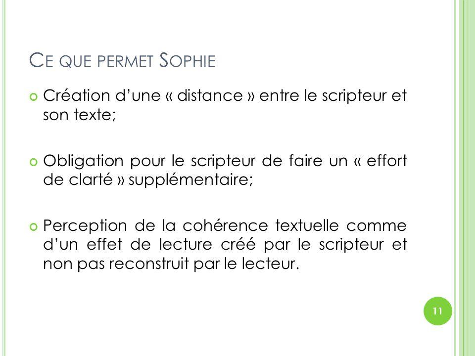C E QUE PERMET S OPHIE Création d'une « distance » entre le scripteur et son texte; Obligation pour le scripteur de faire un « effort de clarté » supp