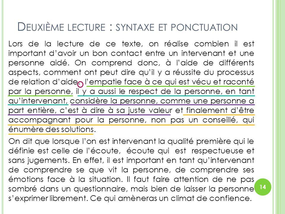 D EUXIÈME LECTURE : SYNTAXE ET PONCTUATION Lors de la lecture de ce texte, on réalise combien il est important d'avoir un bon contact entre un interve