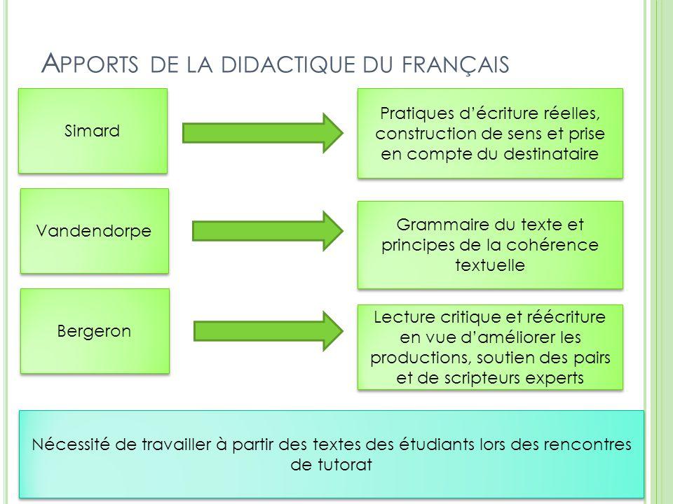 A PPORTS DE LA DIDACTIQUE DU FRANÇAIS 5 Vandendorpe Simard Bergeron Pratiques d'écriture réelles, construction de sens et prise en compte du destinata