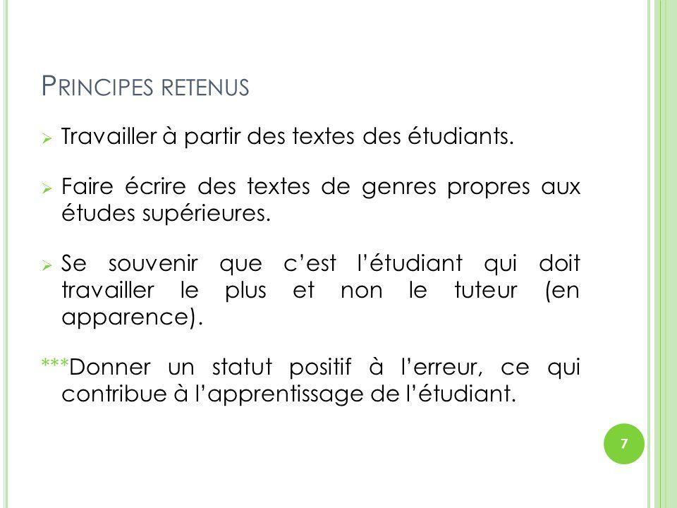 RÉVISION / RÉÉCRITURE EN TROIS LECTURES Première lecture: identifier les passages « obscurs » et viser l'intelligibilité.