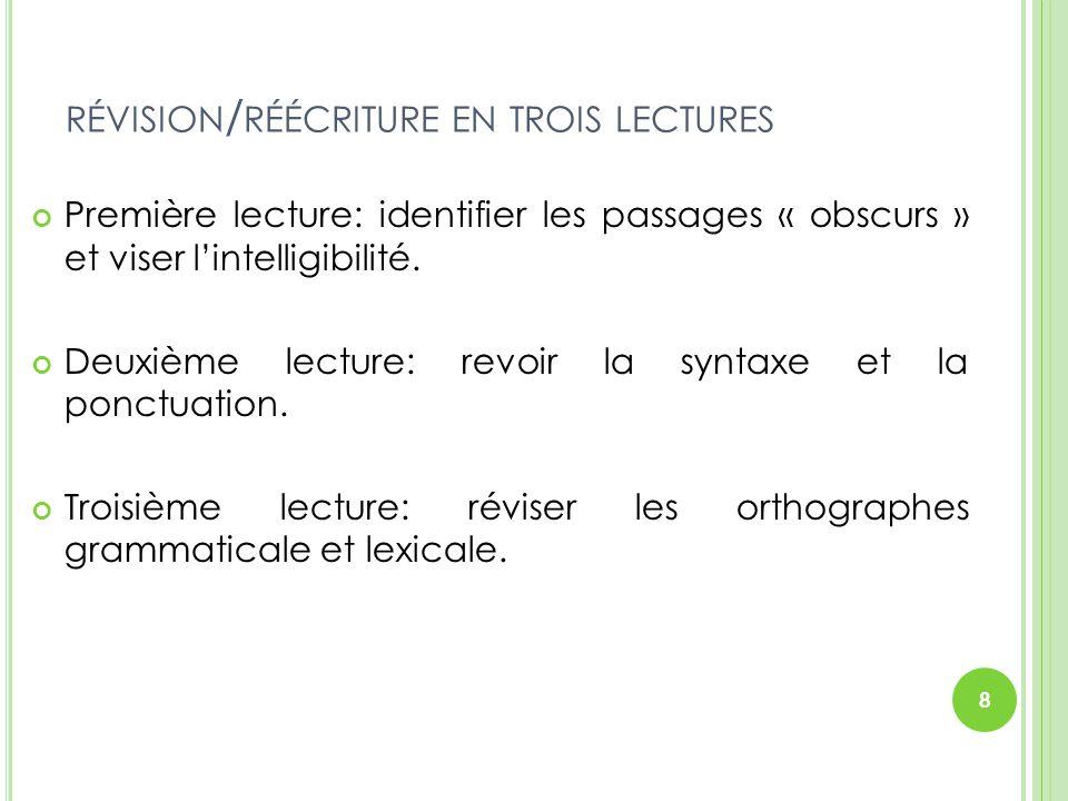 RÉVISION / RÉÉCRITURE EN TROIS LECTURES Première lecture: identifier les passages « obscurs » et viser l'intelligibilité. Deuxième lecture: revoir la