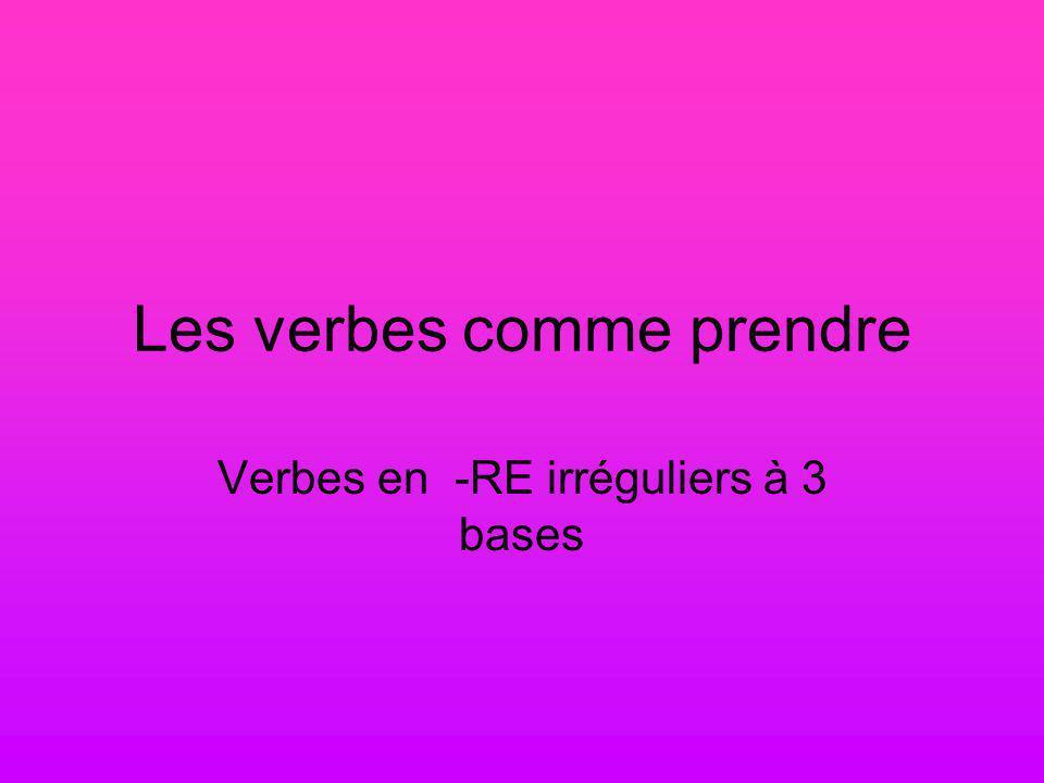 Les verbes comme prendre Verbes en -RE irréguliers à 3 bases