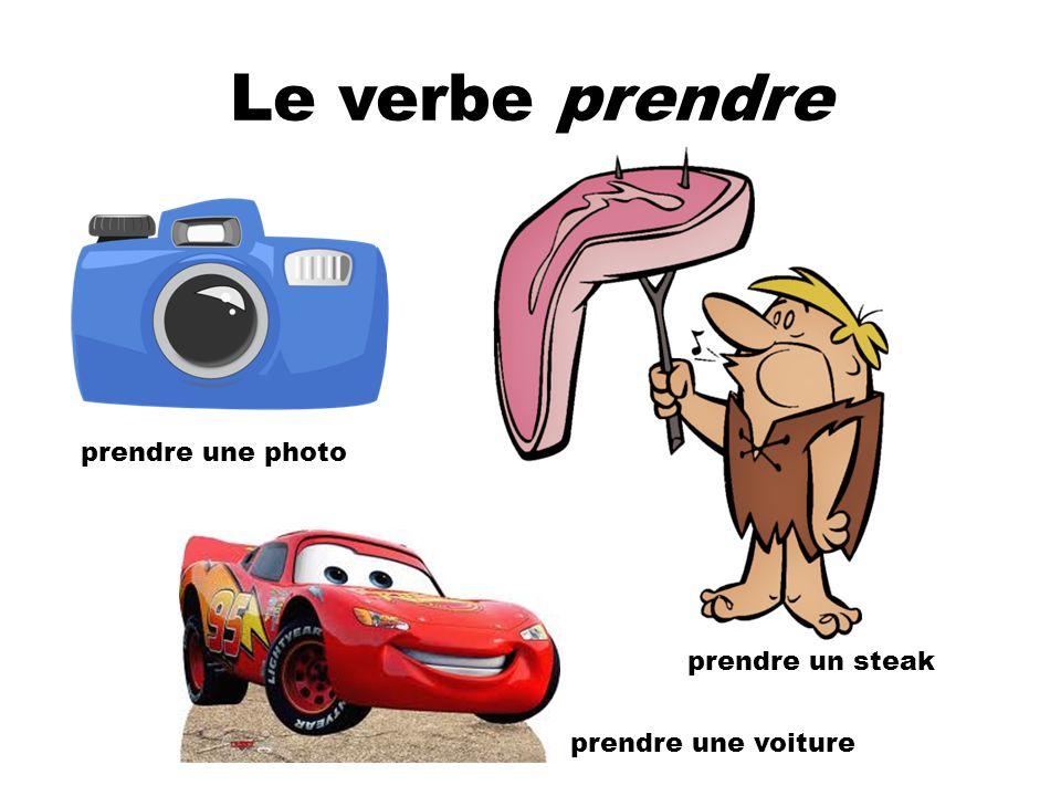 Le verbe prendre prendre une photo prendre un steak prendre une voiture