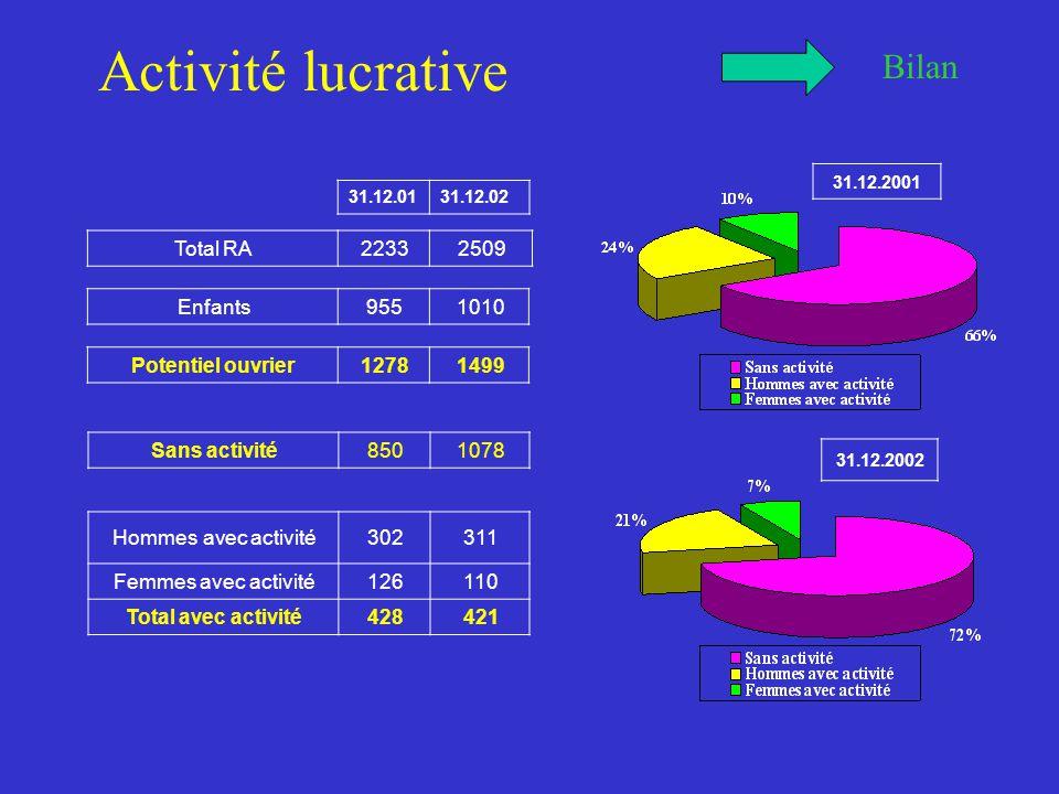 Activité lucrative Bilan Total RA22332509 Enfants9551010 Potentiel ouvrier12781499 Sans activité8501078 Hommes avec activité302311 Femmes avec activité126110 Total avec activité428421 31.12.0131.12.02 31.12.2001 31.12.2002