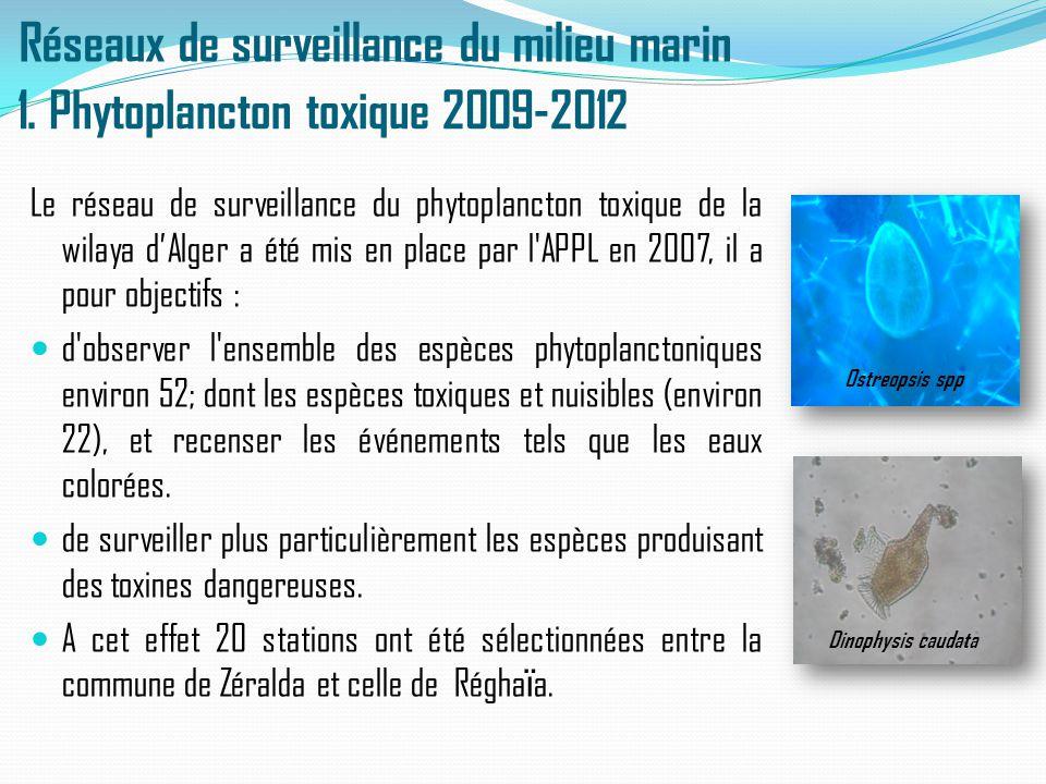 Réseaux de surveillance du milieu marin Le réseau de surveillance du phytoplancton toxique de la wilaya d'Alger a été mis en place par l'APPL en 2007,