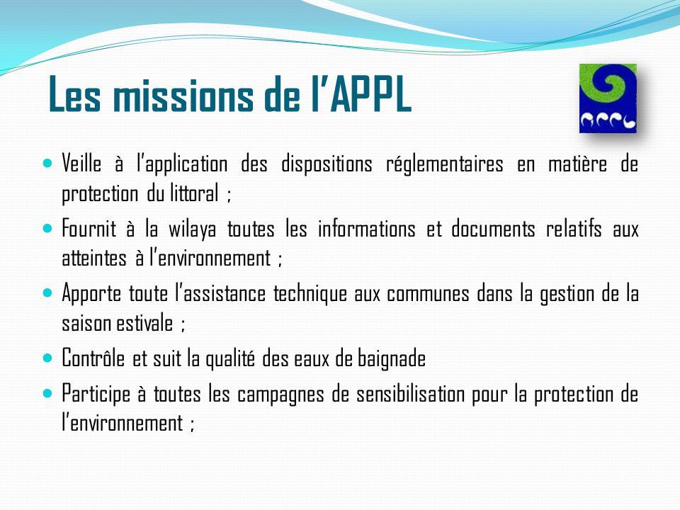 Les missions de l'APPL Veille à l'application des dispositions réglementaires en matière de protection du littoral ; Fournit à la wilaya toutes les in