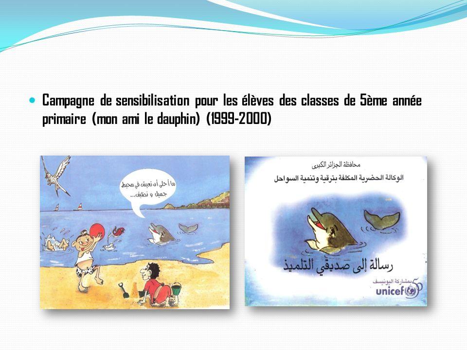 Campagne de sensibilisation pour les élèves des classes de 5ème année primaire (mon ami le dauphin) (1999-2000)