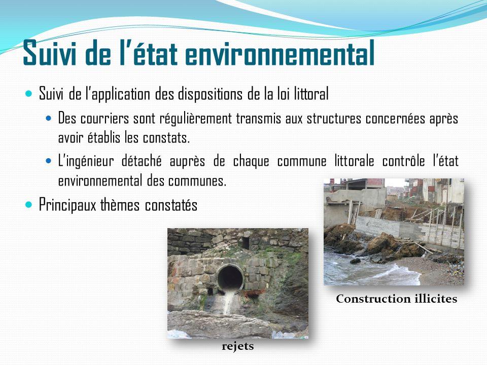 Suivi de l'état environnemental Suivi de l'application des dispositions de la loi littoral Des courriers sont régulièrement transmis aux structures co