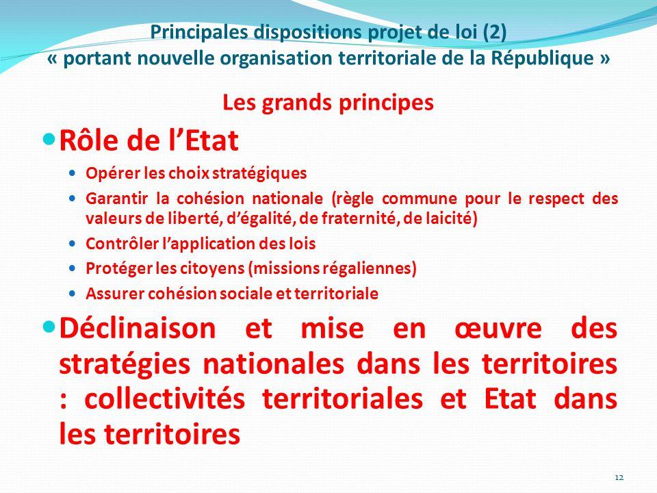 Principales dispositions projet de loi (2) « portant nouvelle organisation territoriale de la République » Les grands principes Rôle de l'Etat Opérer