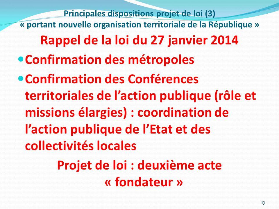 Principales dispositions projet de loi (3) « portant nouvelle organisation territoriale de la République » Rappel de la loi du 27 janvier 2014 Confirm