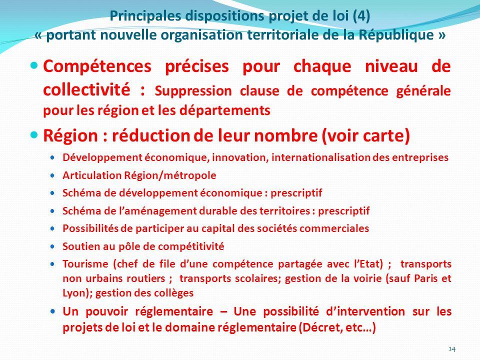 Principales dispositions projet de loi (4) « portant nouvelle organisation territoriale de la République » Compétences précises pour chaque niveau de