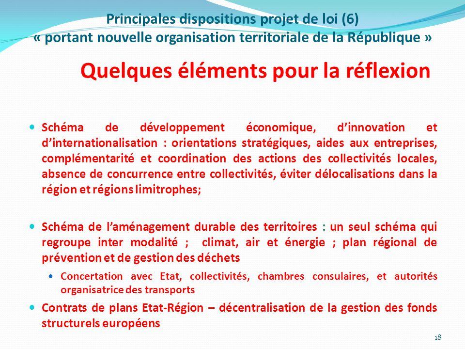 Principales dispositions projet de loi (6) « portant nouvelle organisation territoriale de la République » Quelques éléments pour la réflexion Schéma