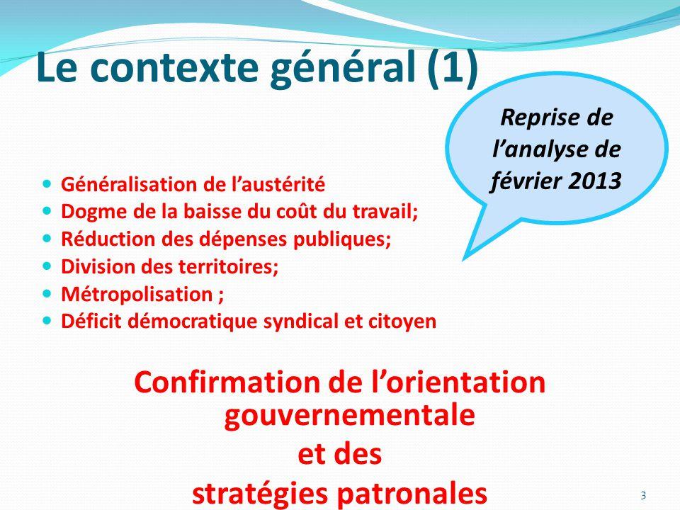 Le contexte général (1) Généralisation de l'austérité Dogme de la baisse du coût du travail; Réduction des dépenses publiques; Division des territoire
