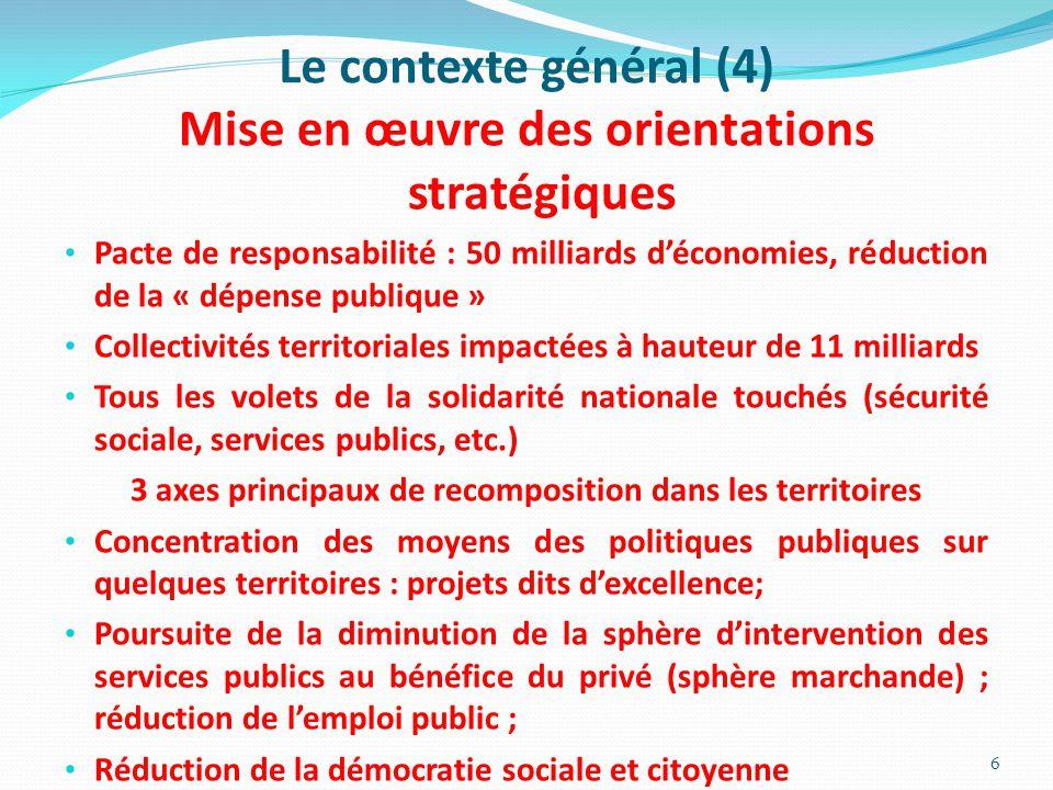 Le contexte général (4) Mise en œuvre des orientations stratégiques Pacte de responsabilité : 50 milliards d'économies, réduction de la « dépense publ