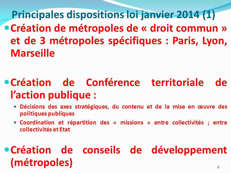Principales dispositions loi janvier 2014 (1) Création de métropoles de « droit commun » et de 3 métropoles spécifiques : Paris, Lyon, Marseille Créat