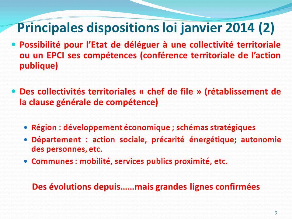 Principales dispositions loi janvier 2014 (2) Possibilité pour l'Etat de déléguer à une collectivité territoriale ou un EPCI ses compétences (conféren
