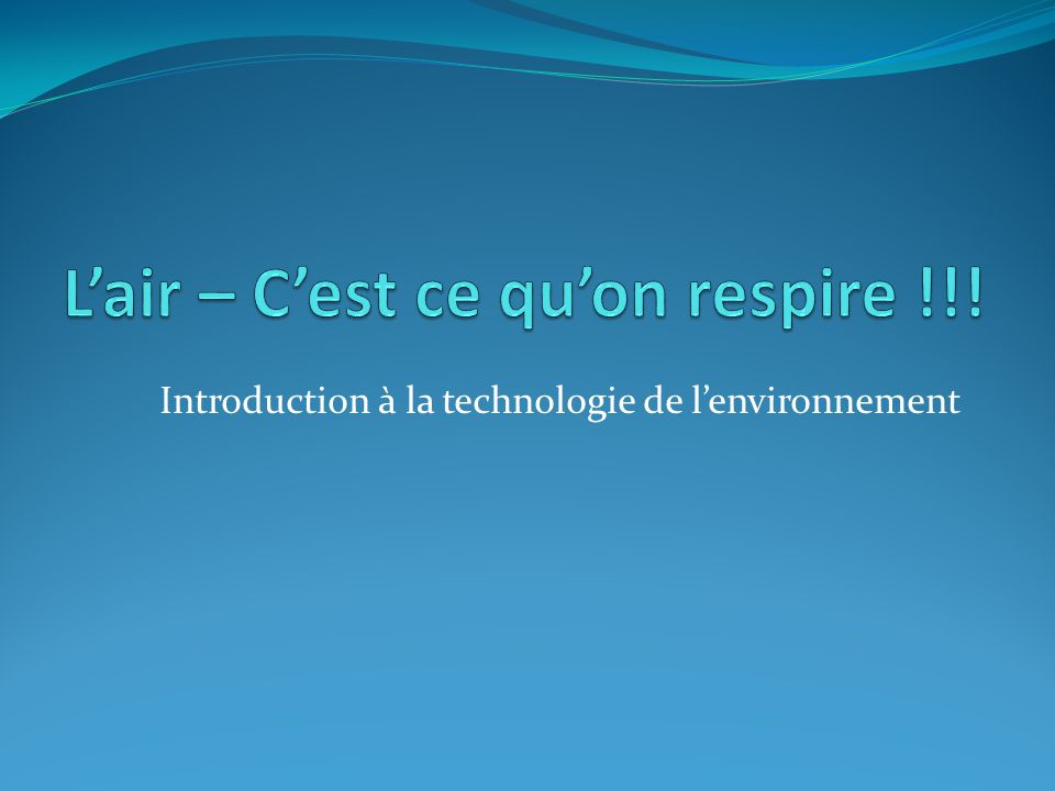 Introduction à la technologie de l'environnement