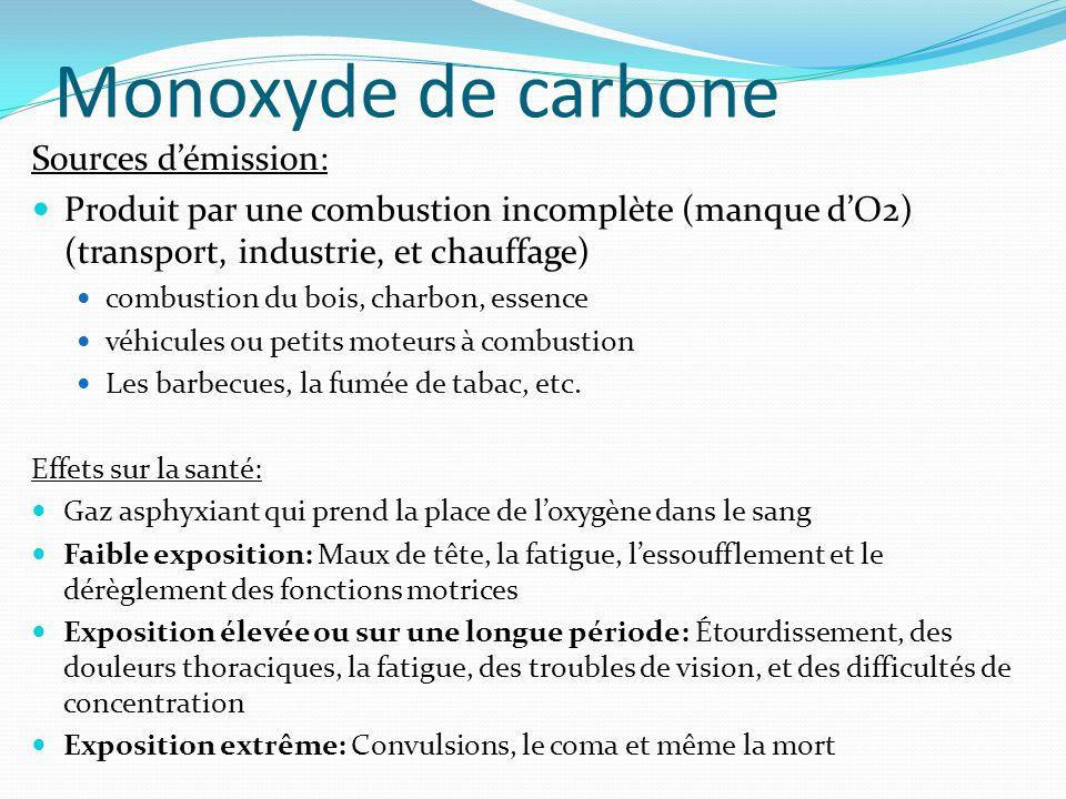 Monoxyde de carbone Sources d'émission: Produit par une combustion incomplète (manque d'O2) (transport, industrie, et chauffage) combustion du bois, c