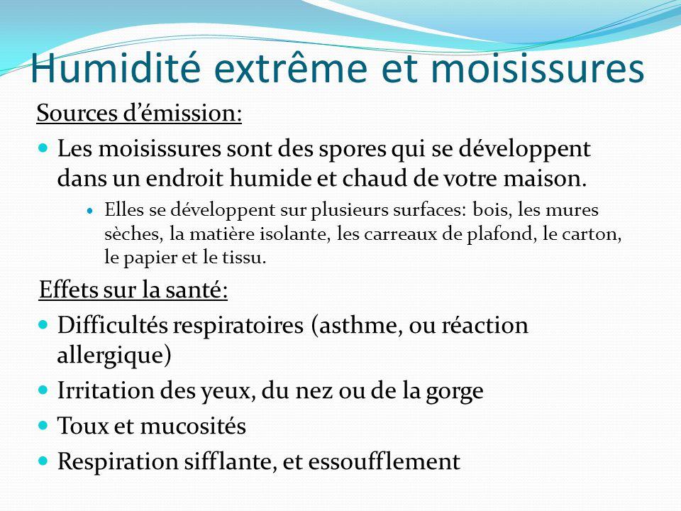 Humidité extrême et moisissures Sources d'émission: Les moisissures sont des spores qui se développent dans un endroit humide et chaud de votre maison