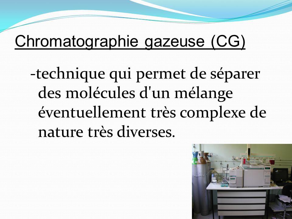 Chromatographie gazeuse (CG) -technique qui permet de séparer des molécules d'un mélange éventuellement très complexe de nature très diverses.