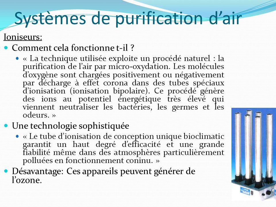 Systèmes de purification d'air Ioniseurs: Comment cela fonctionne t-il ? « La technique utilisée exploite un procédé naturel : la purification de l'ai