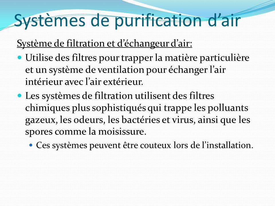 Systèmes de purification d'air Système de filtration et d'échangeur d'air: Utilise des filtres pour trapper la matière particulière et un système de v