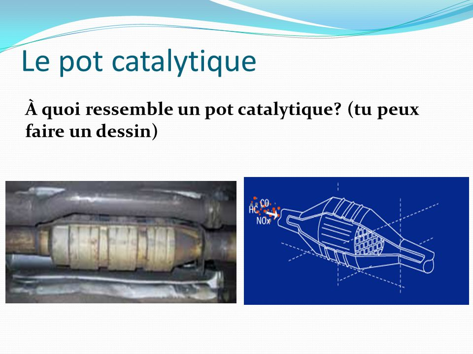 Le pot catalytique À quoi ressemble un pot catalytique? (tu peux faire un dessin)