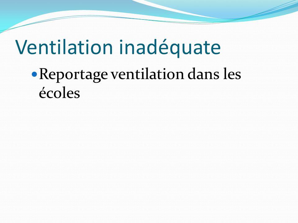 Ventilation inadéquate Reportage ventilation dans les écoles